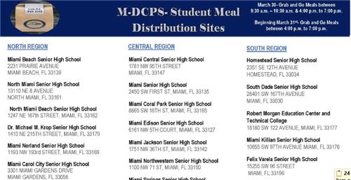 M-DCPS Student Meal Distribution Sites