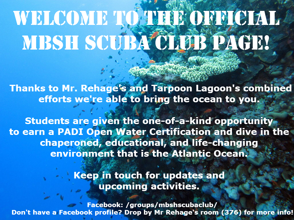 Welcome to the MBSH SCUBA Club page!