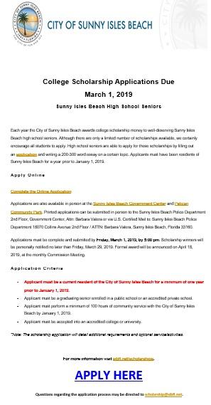 Sunny Isles Scholarship