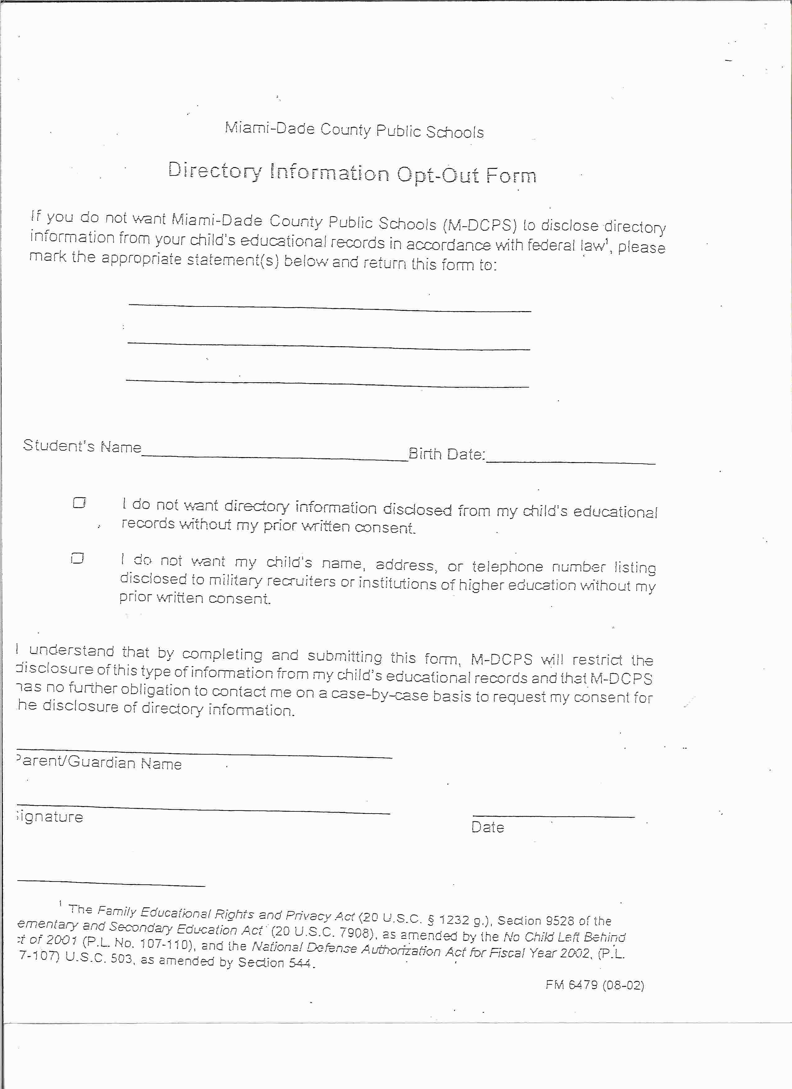 Students new student registration directory information opt out form 1betcityfo Image collections