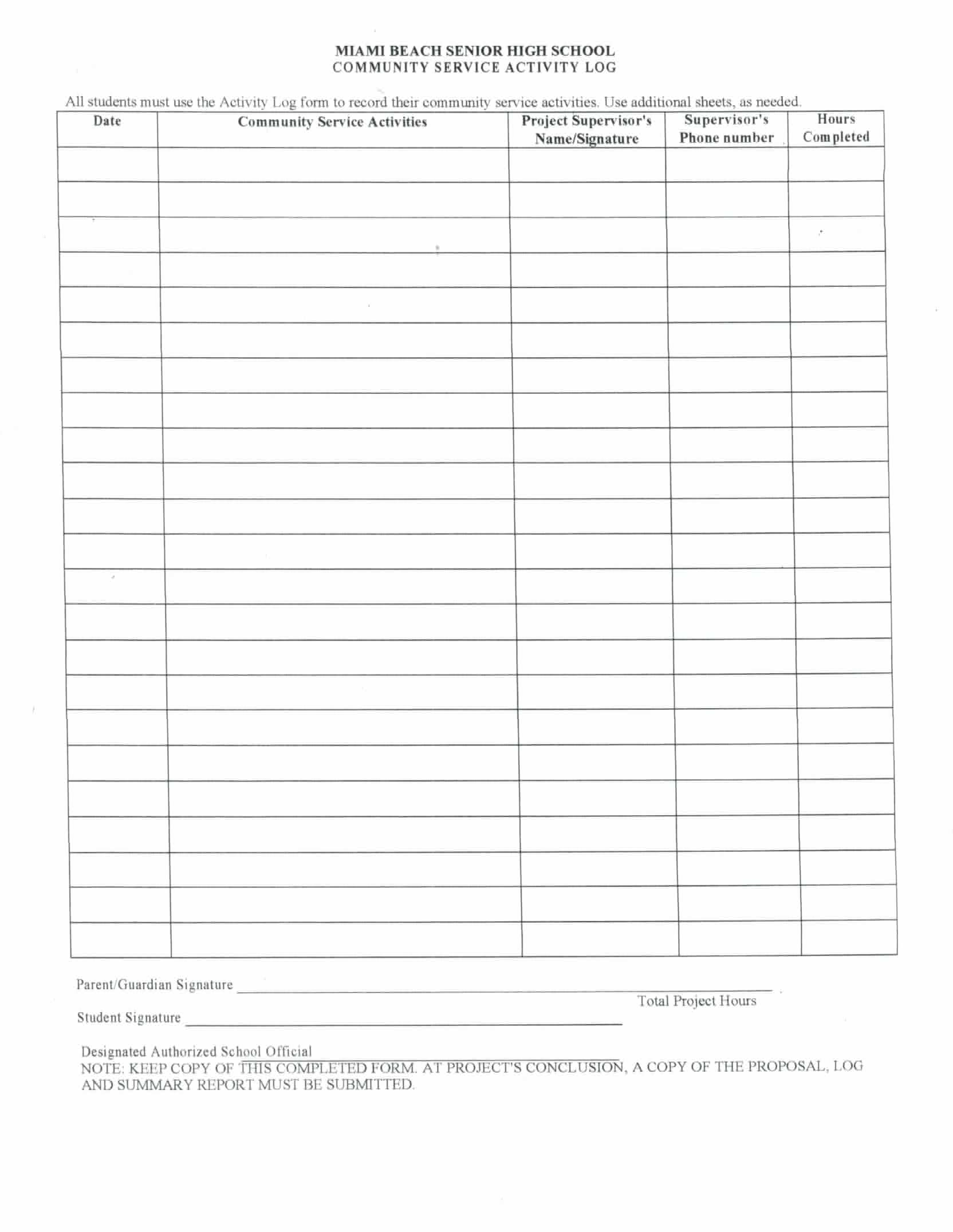 Academy of Hospitality and Tourism Community Service Sheet – Service Hour Form